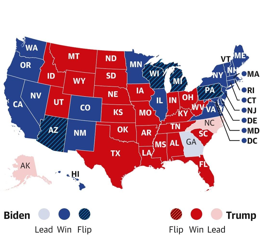 Mapa de las elecciones estadounidenses