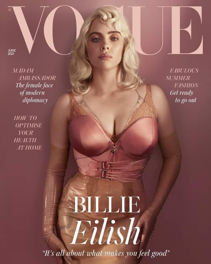 Billie Eilish posando en la portada de la edición británica de Vogue.
